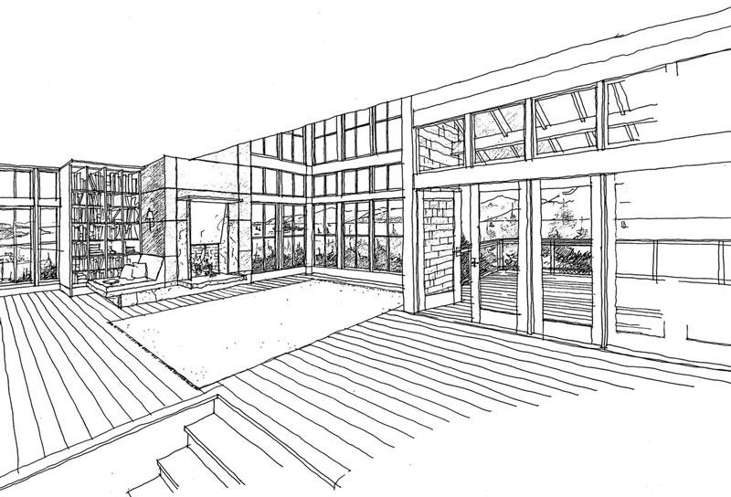 West Seattle Custom Living Room Illustration by Bernie Baker