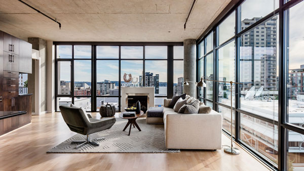 Belltown Loft Main Living Are with View
